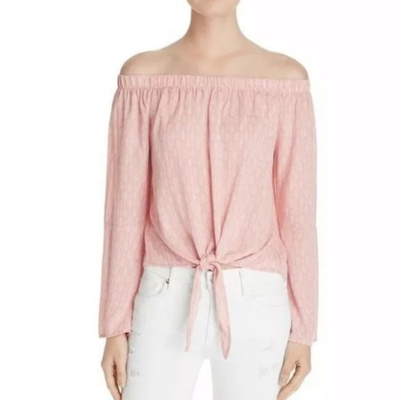 d8e7381cb8c698 Vintage Havana Pink Off The Shoulder front tie top